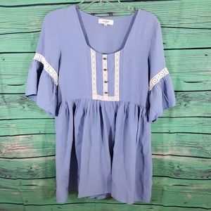 Umgee Dresses - Umgee periwinkle and lace tunic dress